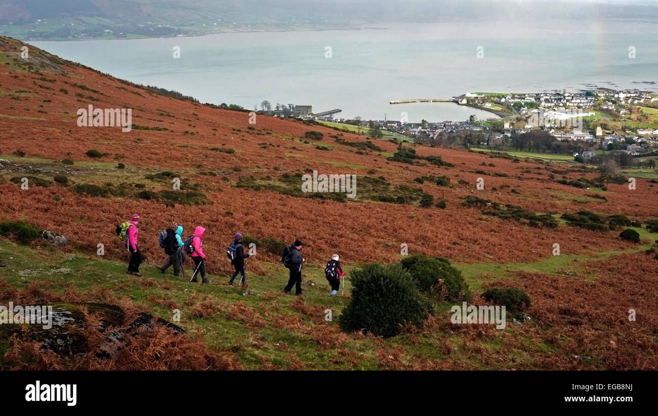 Hill walkers Cooley Mountains, showing the villiage of Carlingford and the bay area. - Stock Image
