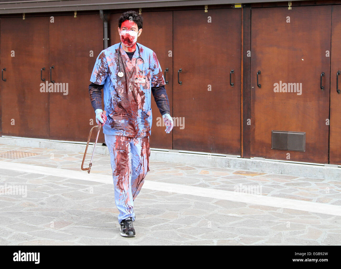 Venice, Italy. 21st February, 2015. A participant of the Zombie Walk dressed up as a zombie. The 2nd edition of - Stock Image