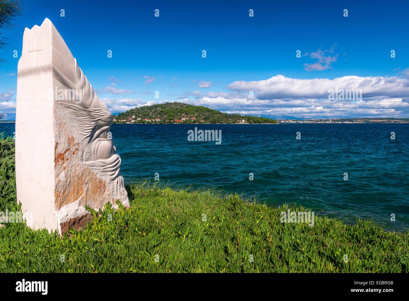 Poseidon statue, Ugljan Island, Dalmatian Coast, Croatia - Stock Image