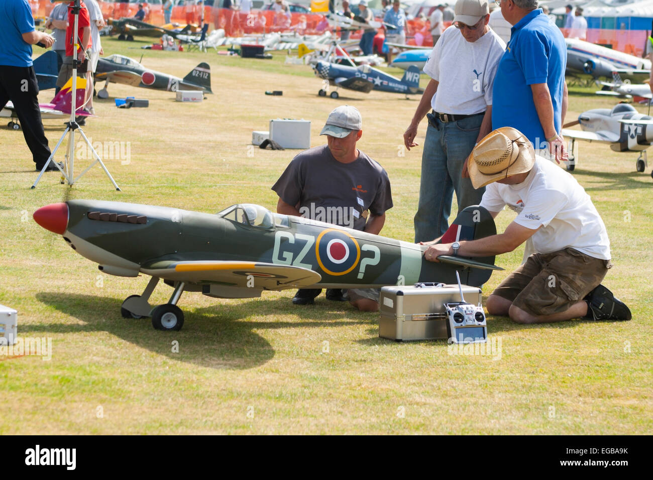 RC Spitfire preparations for air show - Stock Image