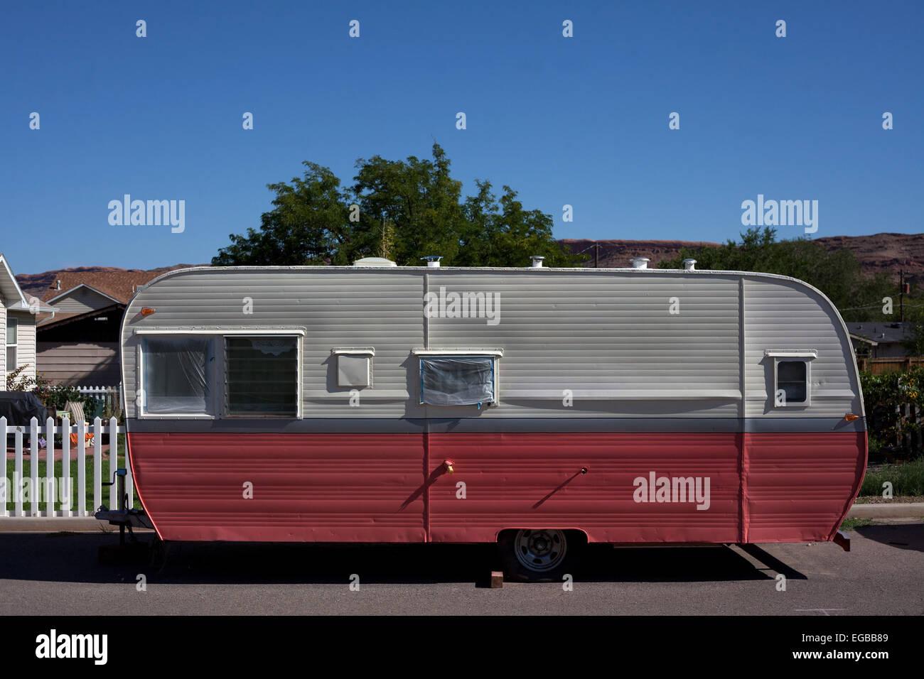 Two tone caravan in Moab Utah USA Stock Photo