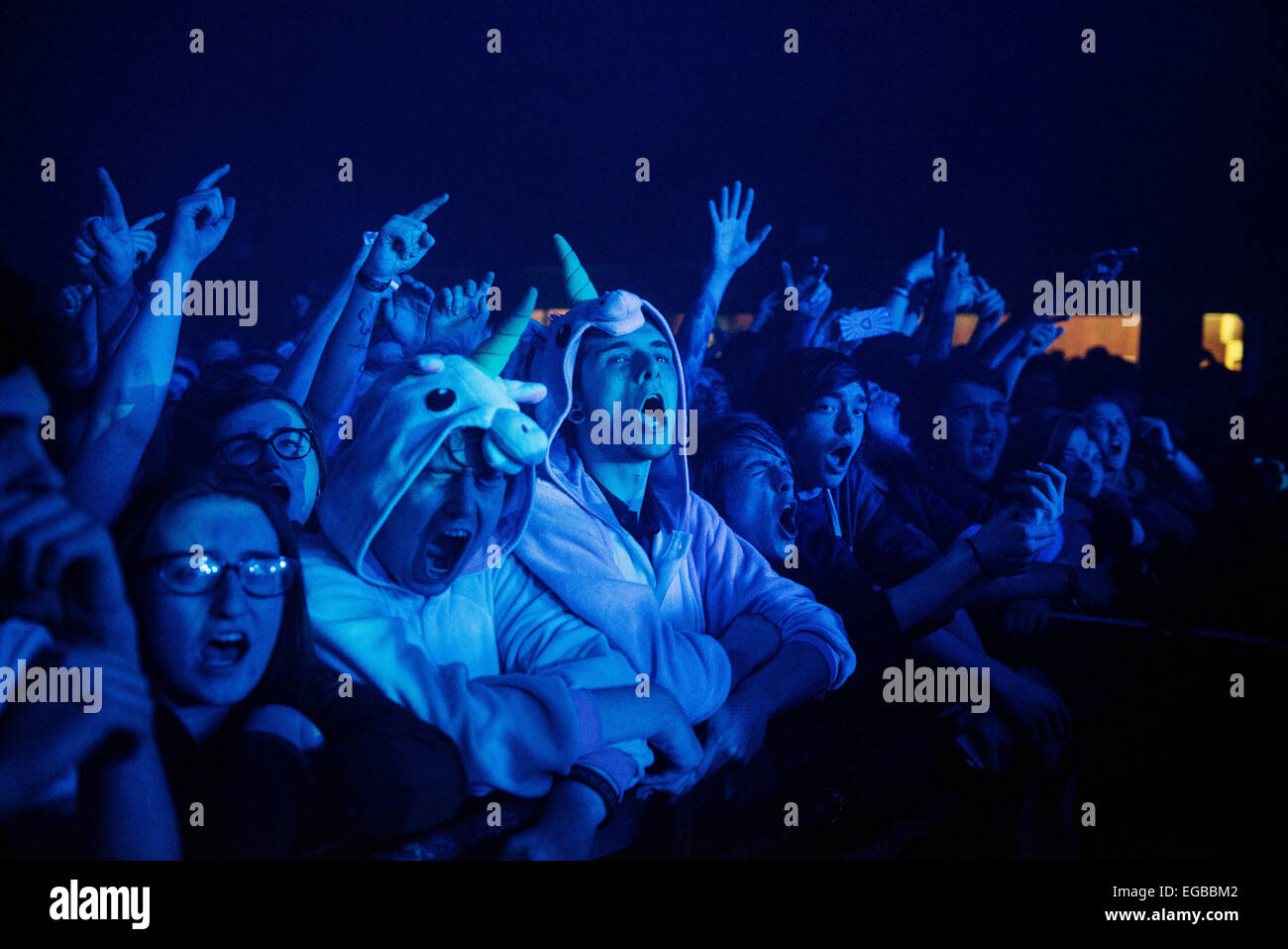 Rou Reynolds of Enter Shikari performs on stage at Barrowlands Ballroom on February 22, 2015. Credit:  Sam Kovak/Alamy - Stock Image