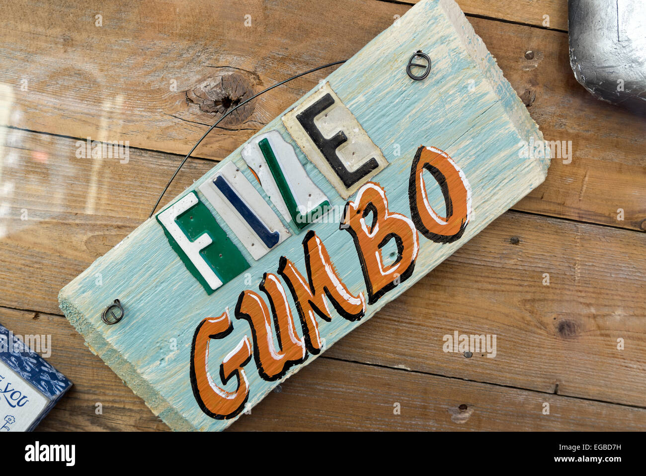 Decorative Wooden File Gumbo Sign, New Orleans, LA.   File Gumbo is a type of soup. - Stock Image
