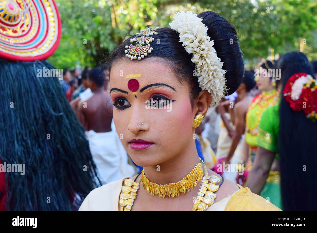 5383b93642f3 Girl with traditional dance costume at Onam Festival Procession in Kerala  India