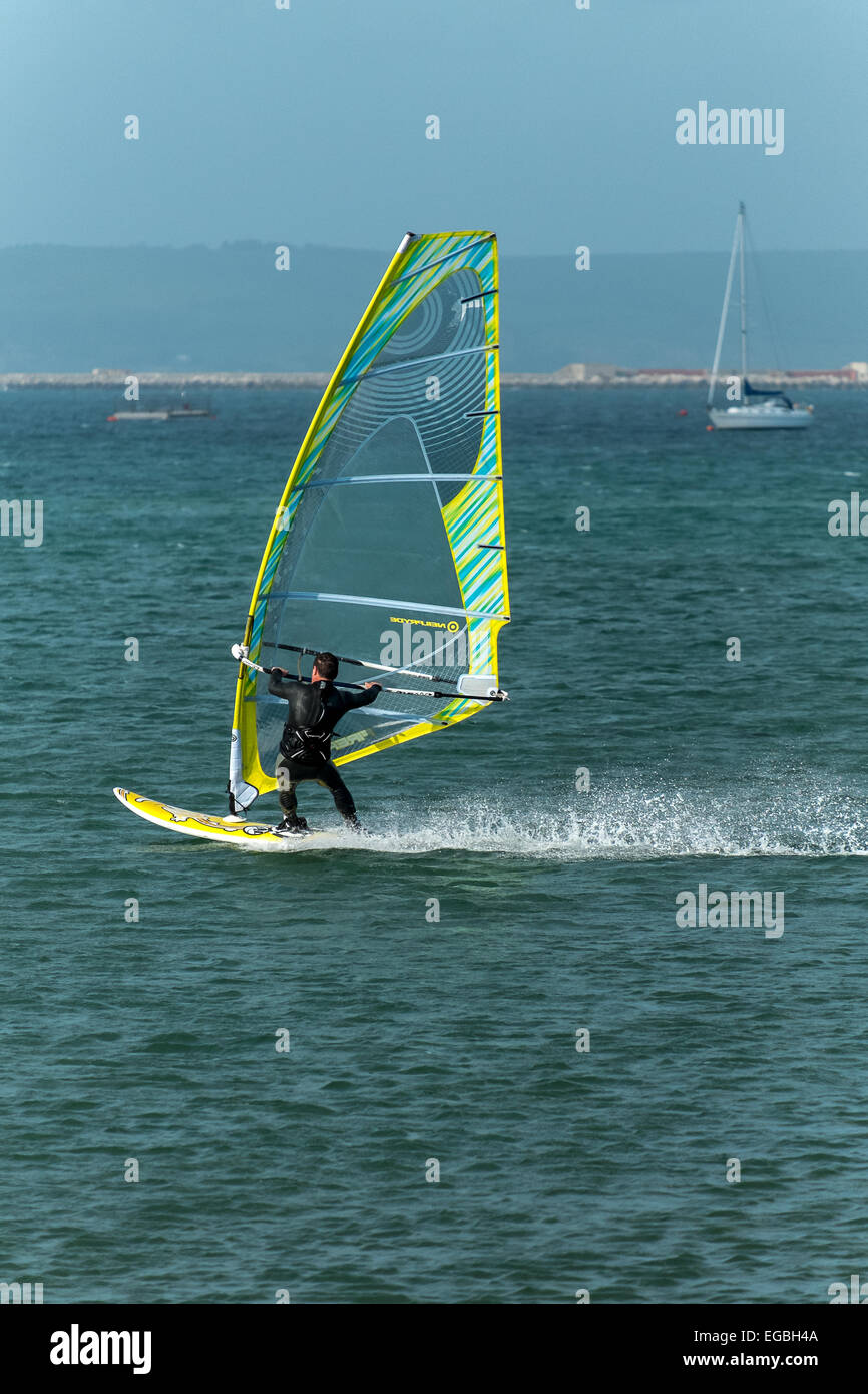 Wind surfing  in Weymouth bay dorset - Stock Image