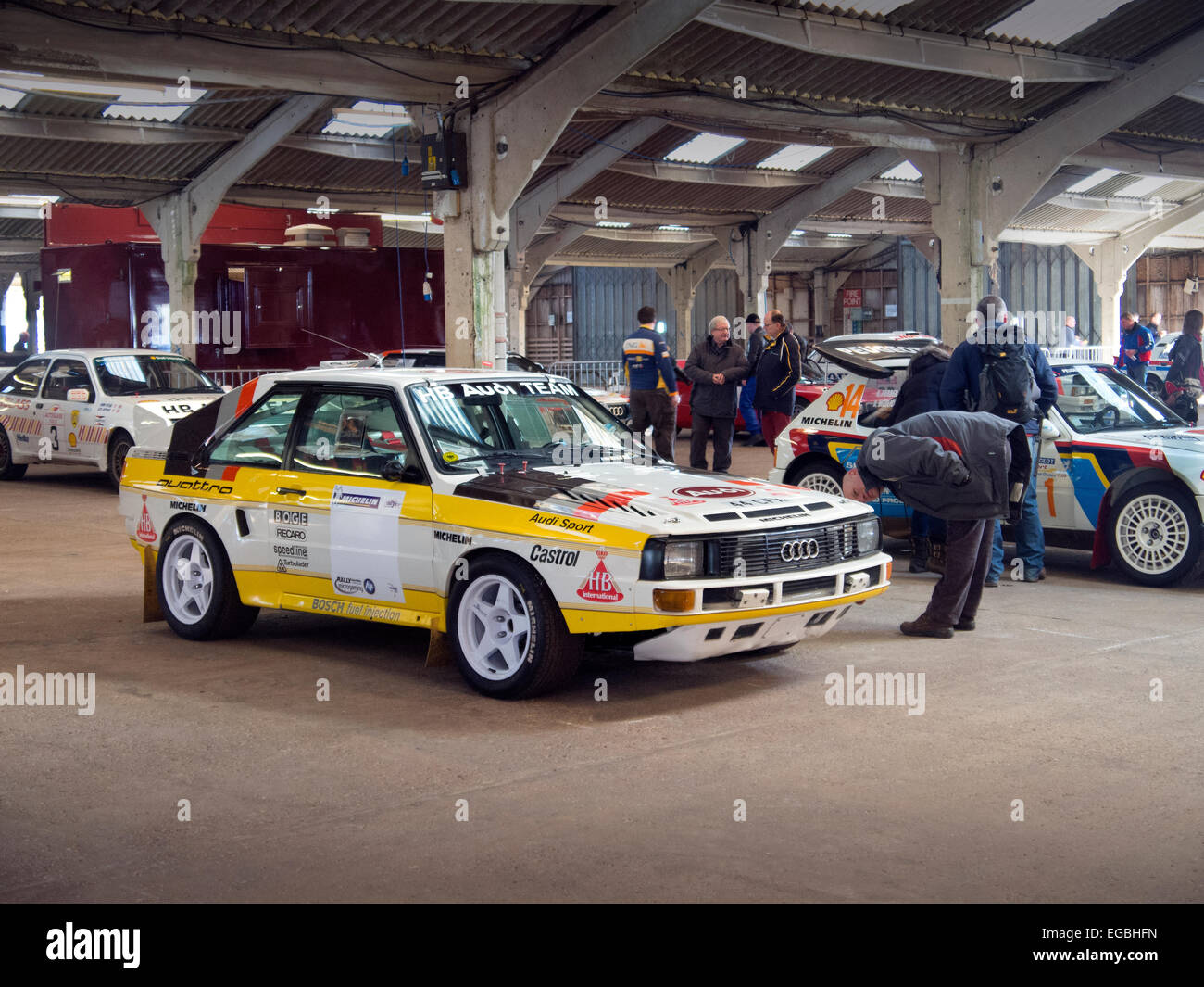 Warwickshire, UK. 21st Feb, 2015. Audi Quattro Sport Group B Rally Car in paddock at Race Retro Event Stoneleigh - Stock Image