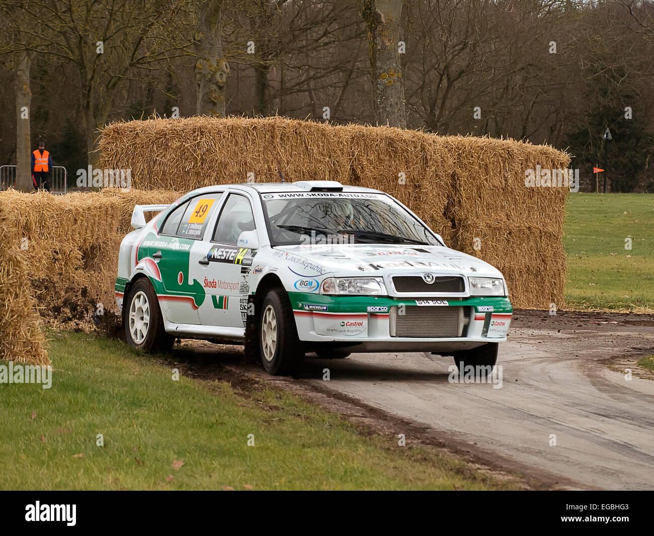 Warwickshire, UK. 21st Feb, 2015. Skoda Octavia Rally car on Race Retro special stage 21/02/2015 Credit:  Martyn - Stock Image