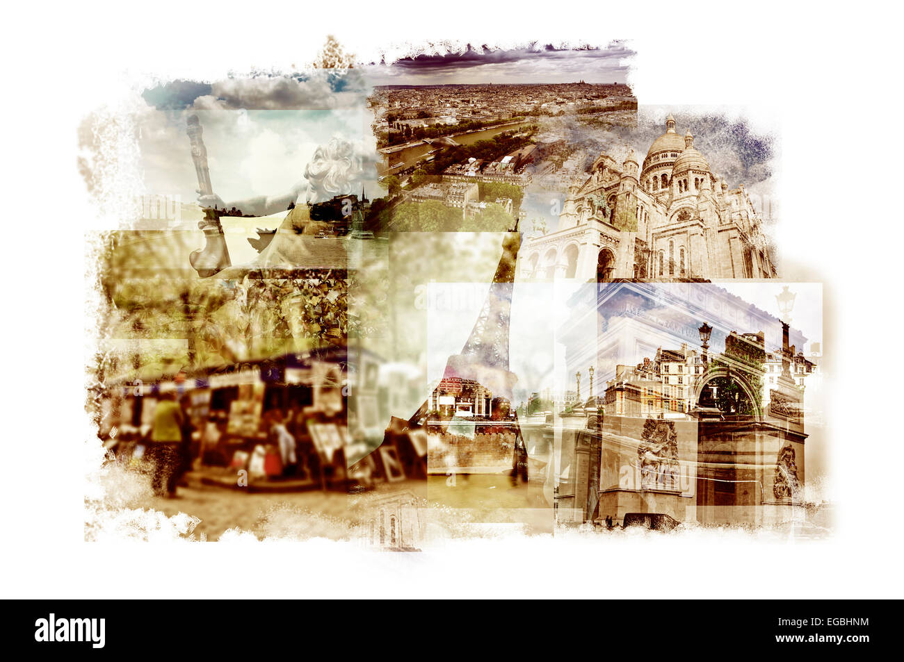 multiple exposures of different landmarks in Paris, France such as the Eiffel Tower, the Basilica of the Sacred - Stock Image