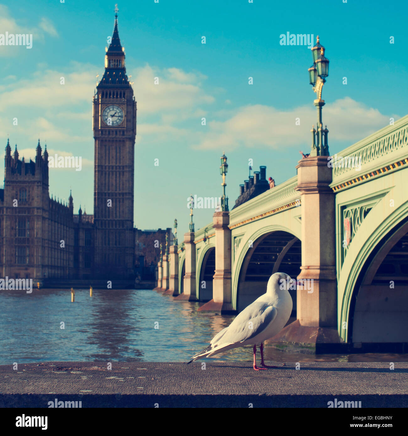 a view of the Big Ben, the River Thames and the Westminster Bridge, with a filter effect - Stock Image