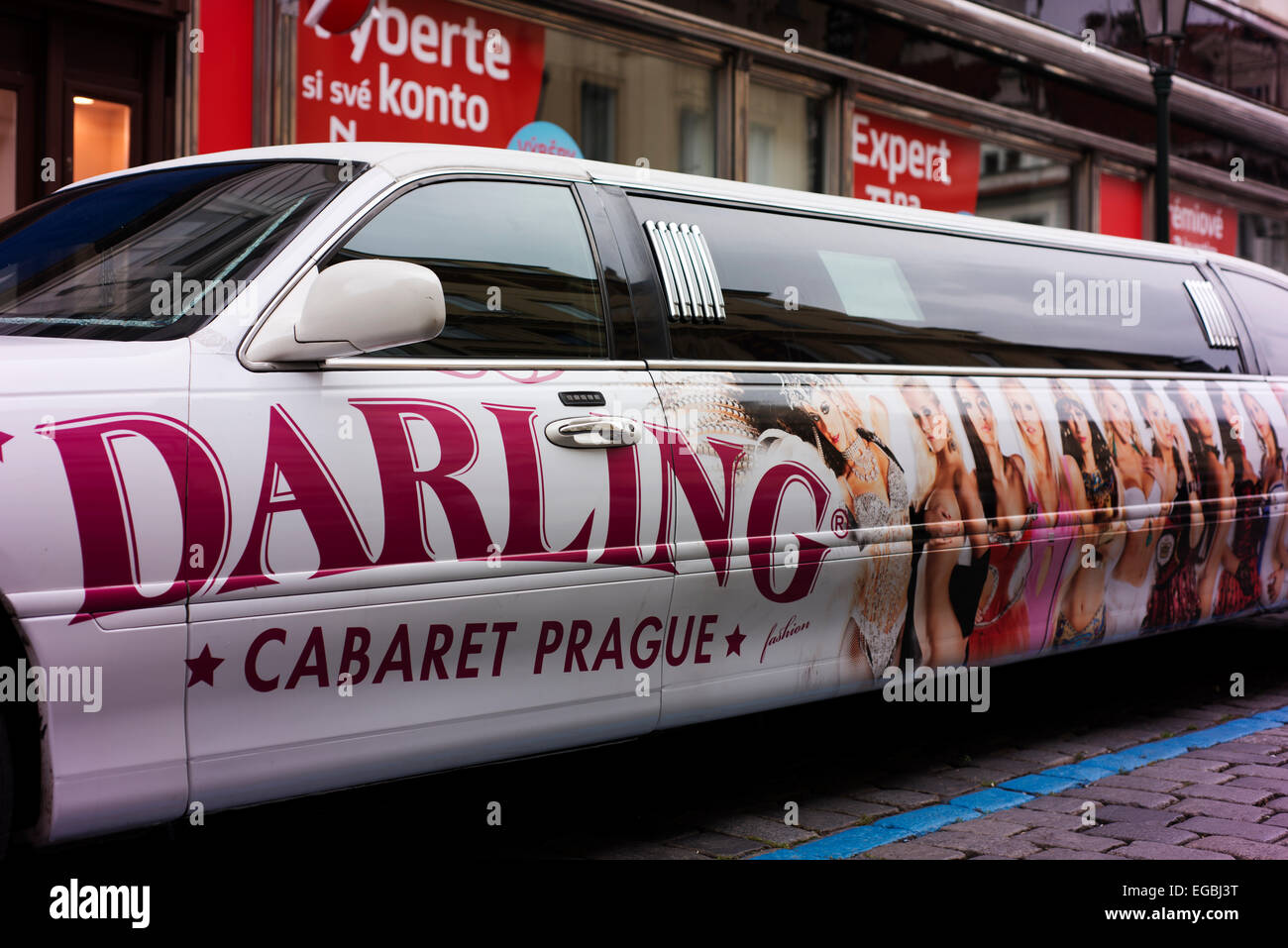 Stretch limousine outside the Darling Cabaret gentlemen's club. - Stock Image