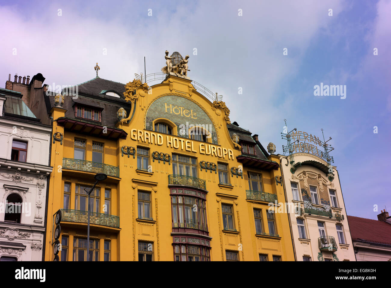 The Grand Hotel Europa in Prague's New Town, on Wenceslas Square. - Stock Image