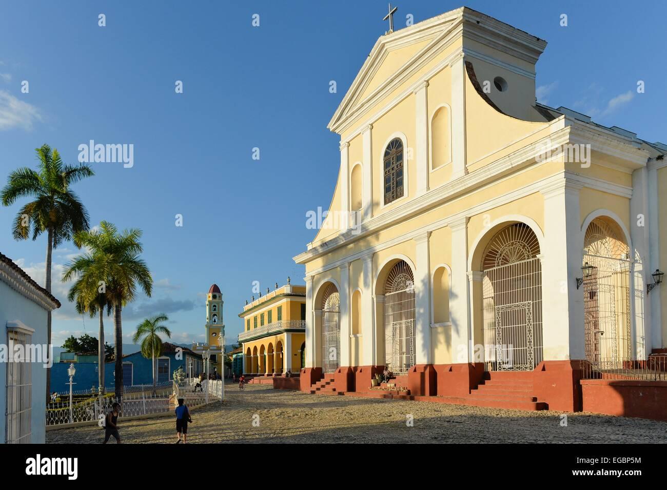 Iglesia Parroquial de la Santisima Trinidad in La Plaza Mayor, Trinidad, Cuba. - Stock Image