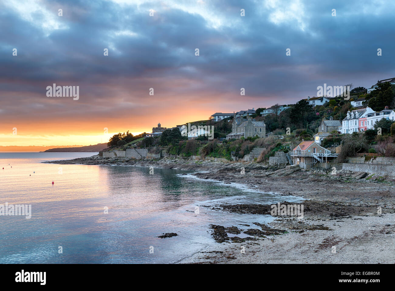 Dusk over Tavern beach at St Mawes near Falmouth in Cornwall - Stock Image