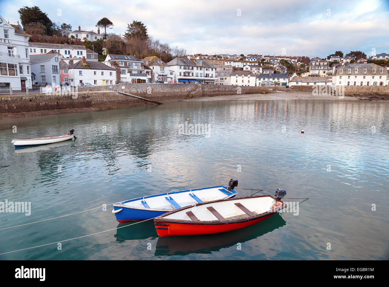 Evening at St Mawes a seaside resort on the south coast of Cornwall - Stock Image