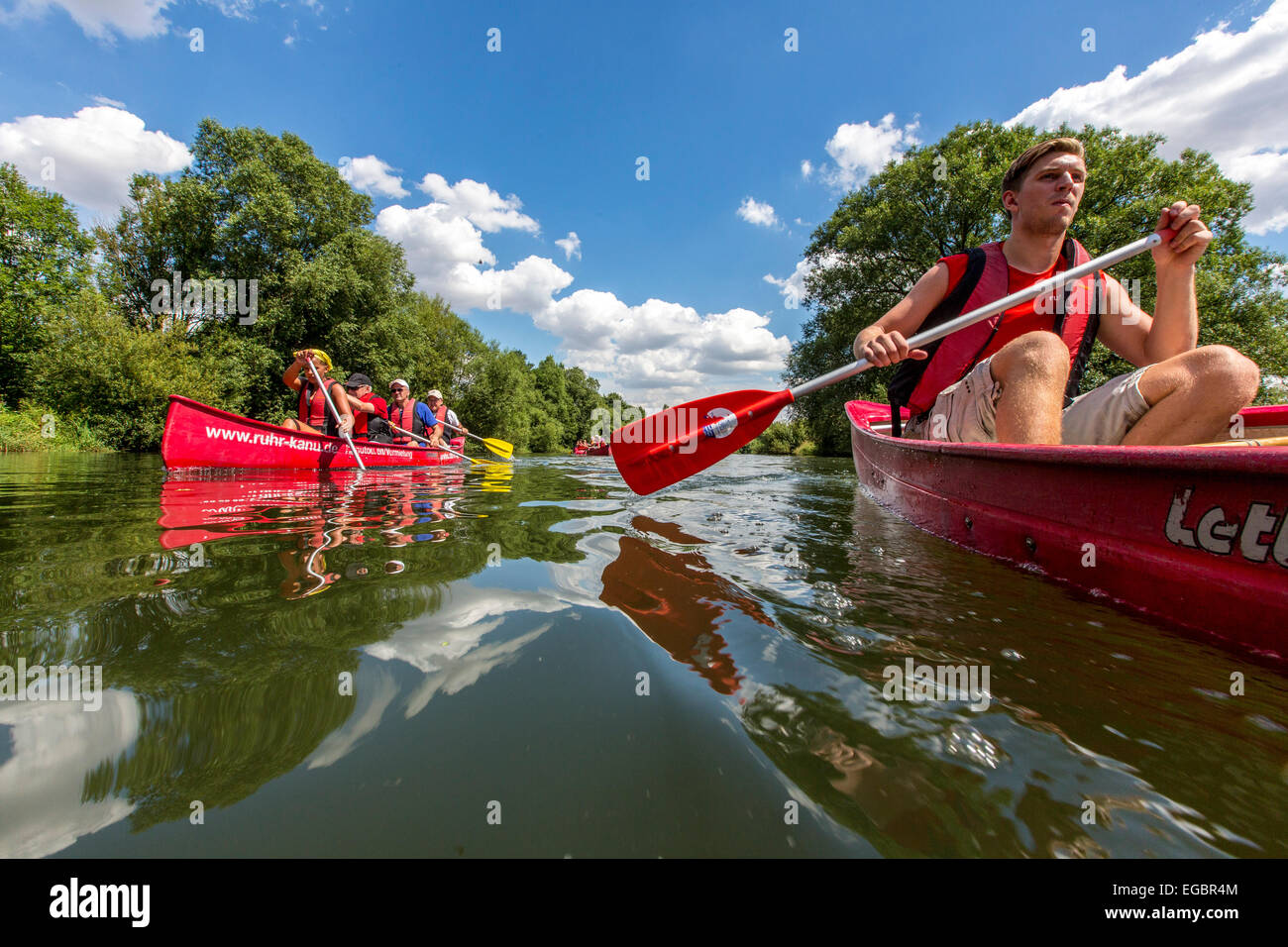 Canoe trip on river Ruhr, tourist attraction, - Stock Image