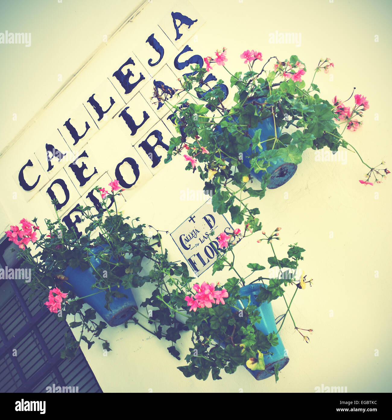 Lane of flowers (Calleja de las flores) in Cordoba, Spain. Retro style filtred image Stock Photo