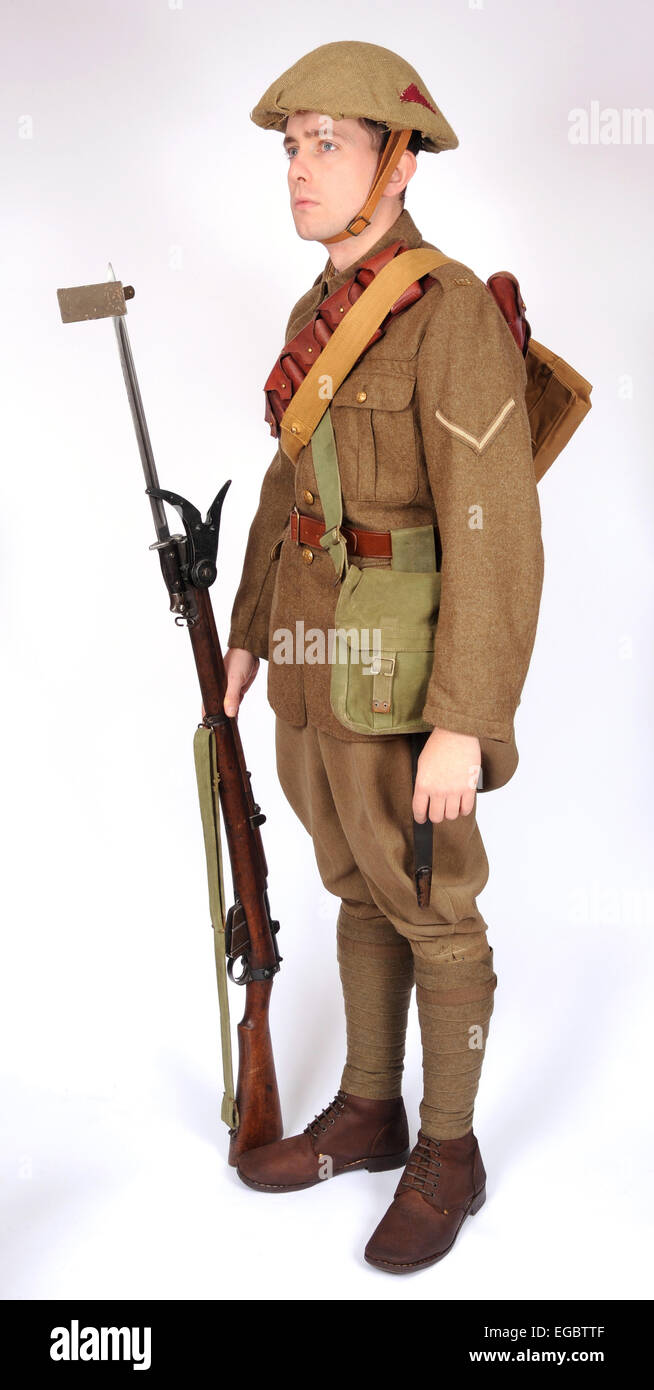 A Great War uniform as worn by British soldiers fighting in the trenches 1914-1918. Dismounted cavalryman - Stock Image