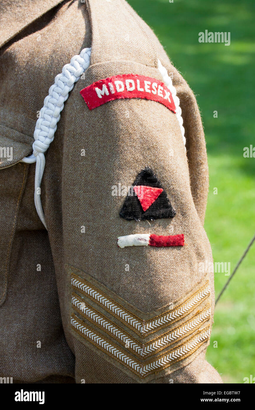 England, Ramsgate. War and Peace show. World War Two shoulder British army, 'Middlesex', sergeant - Stock Image