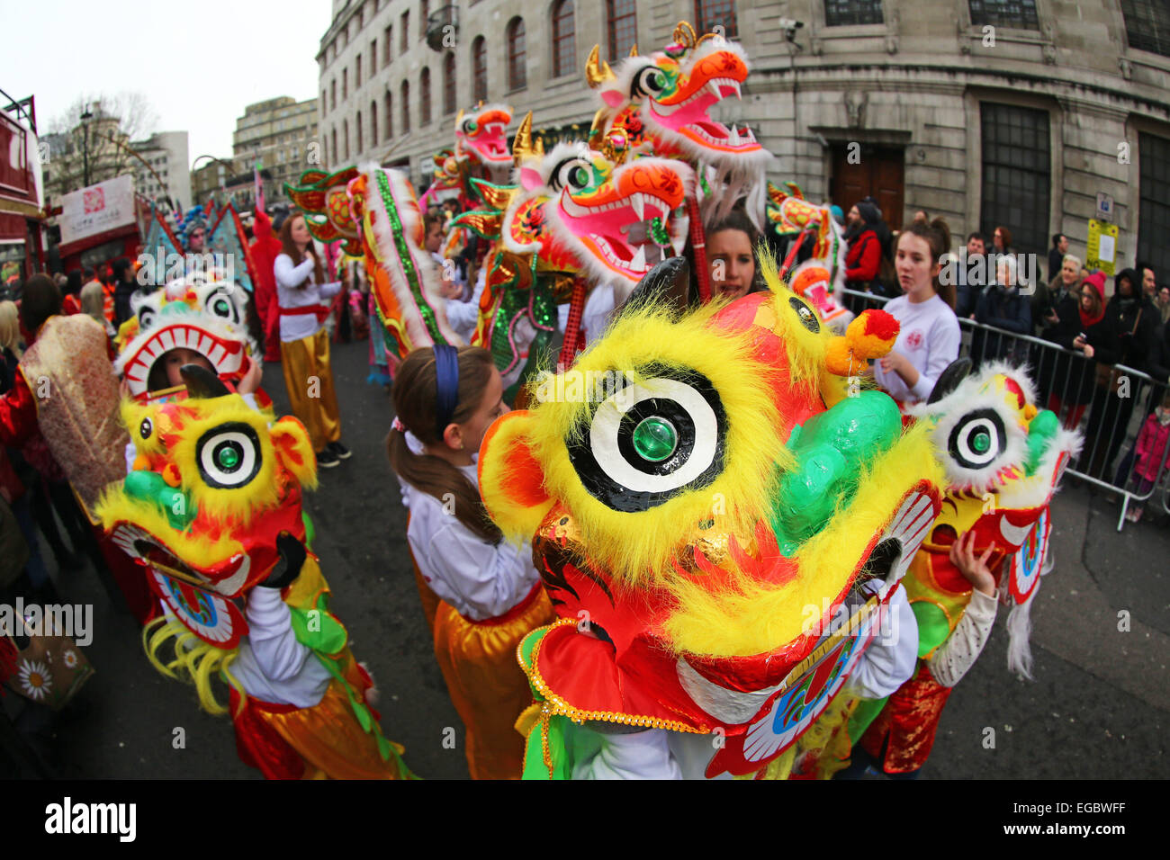 London, UK. 22nd February 2015. Chinese New Year Parade 2015, London for the year of the goat or sheep. Credit: - Stock Image
