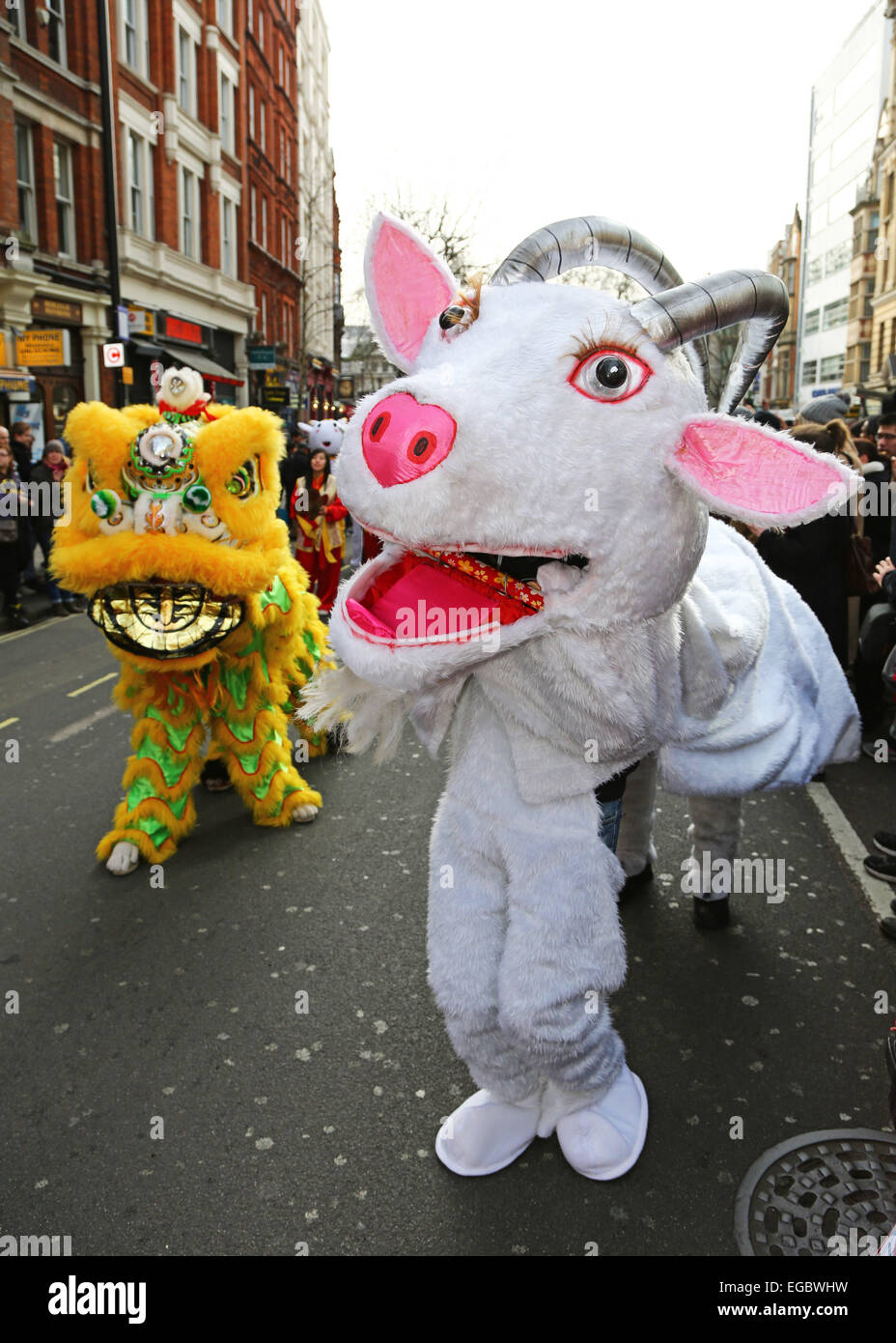 London, UK. 22nd February 2015. Goat figure at the Chinese New Year Parade 2015, London for the year of the goat - Stock Image