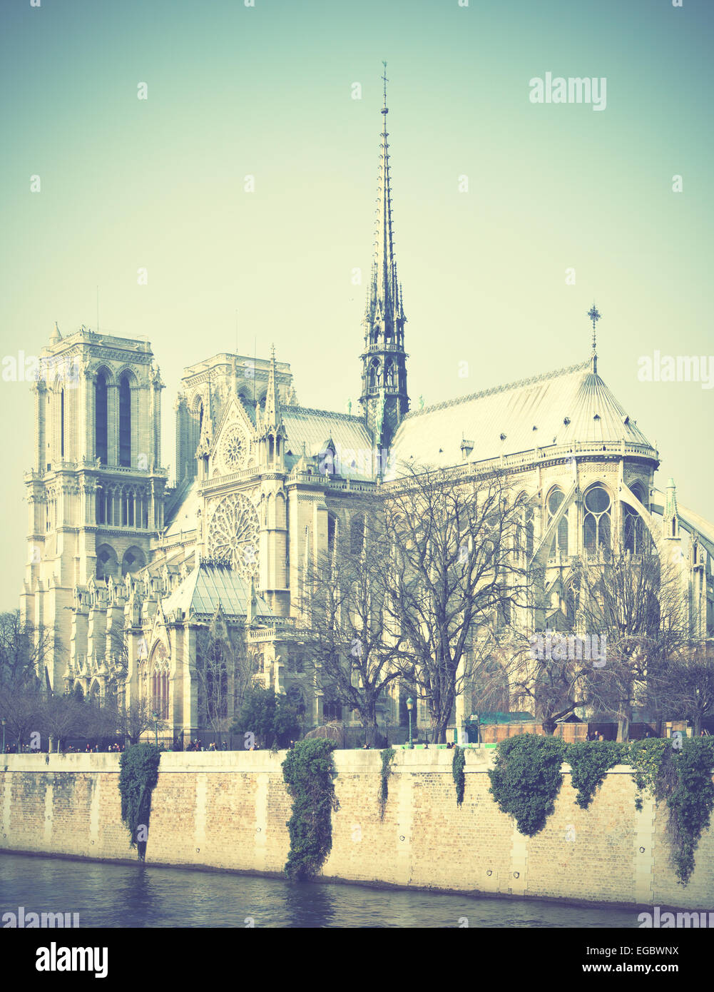 Notre Dame de Paris in France. Retro style filtred image - Stock Image