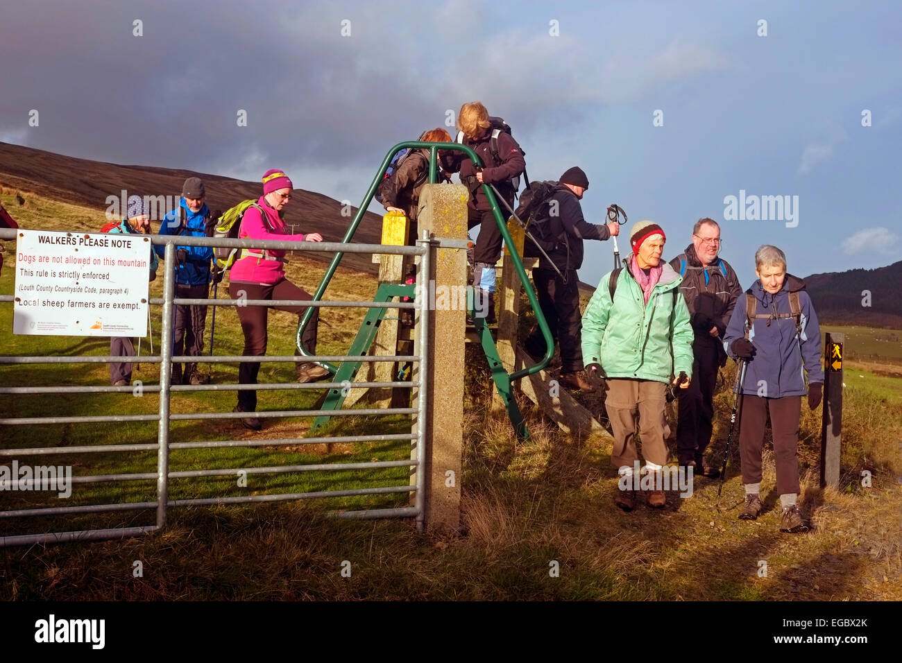 Hill walkers climbing a stile on the Tain Trail in the Cooley Mountains in Carlingford Co. Louth Ireland - Stock Image