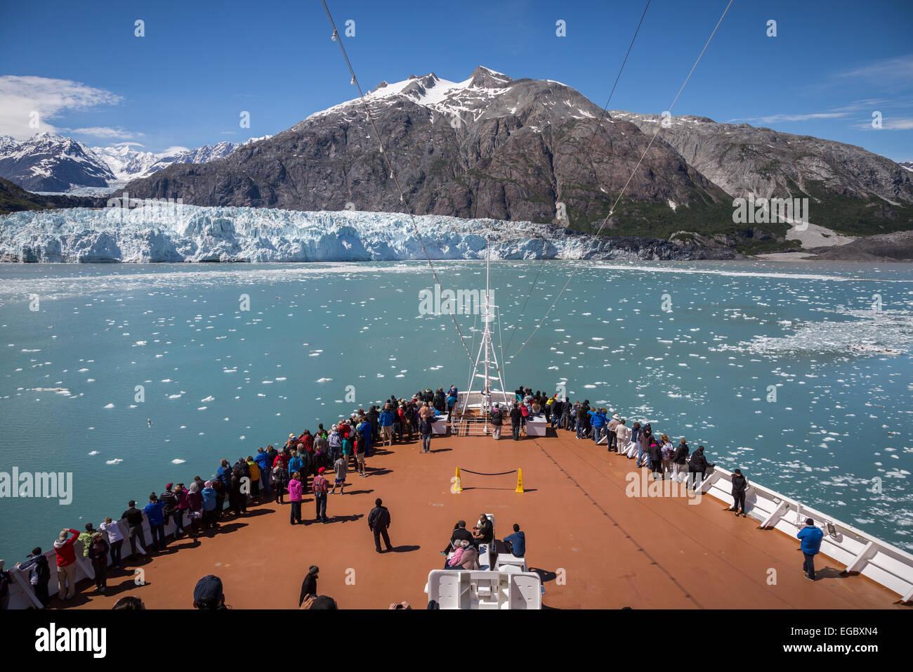 Bow of cruise ship in Glacier Bay, Alaska, USA, North America. - Stock Image