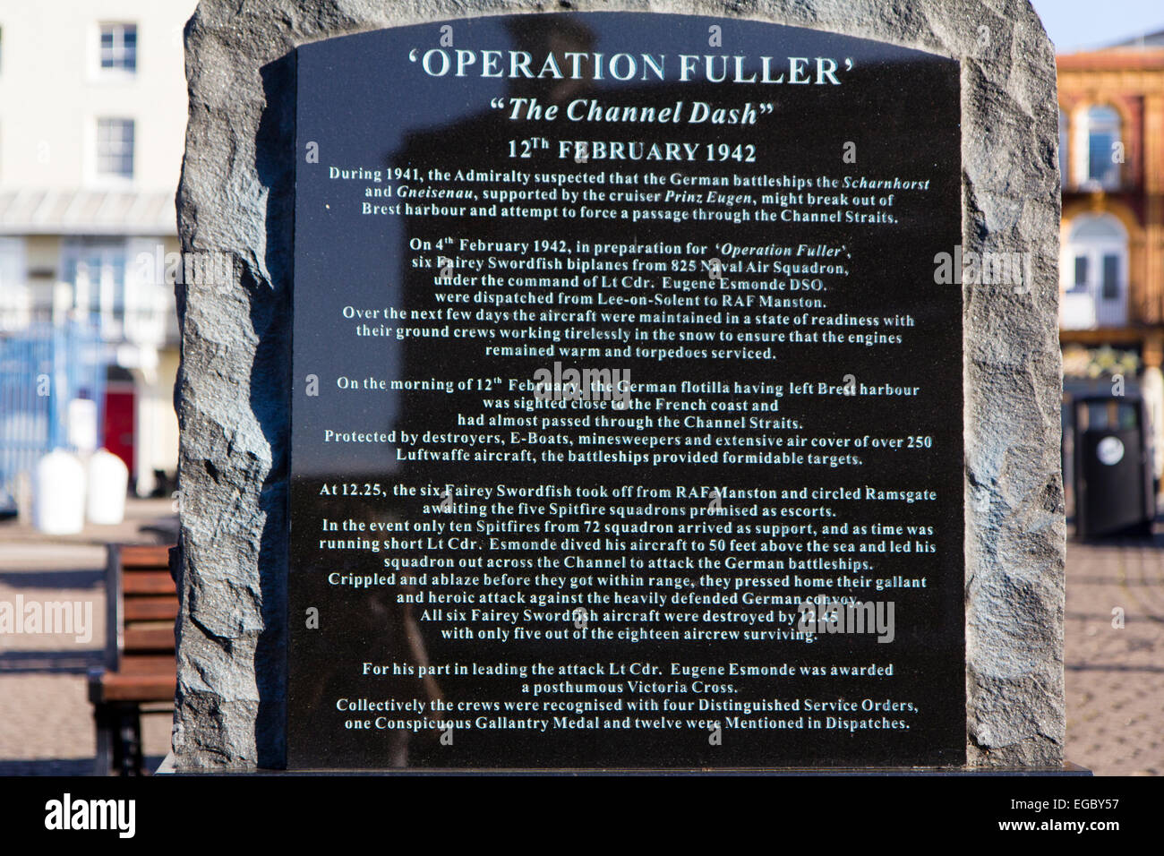 England, Ramsgate. Harbour, memorial stone to Operation Fuller, The Channel Dash 1942. - Stock Image