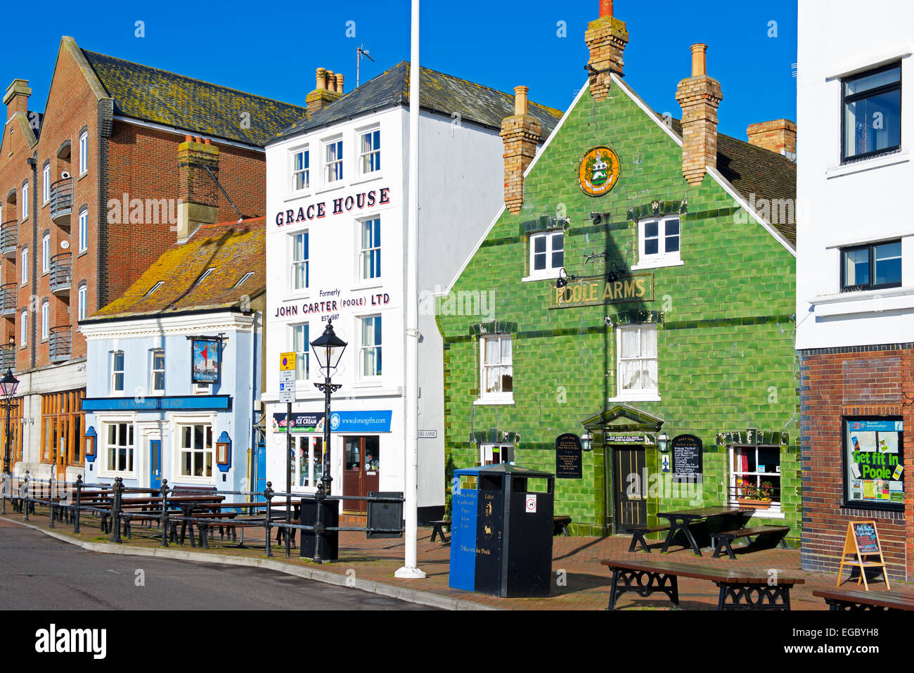 Pubs on the quayside, Poole, Dorset, England UK - Stock Image