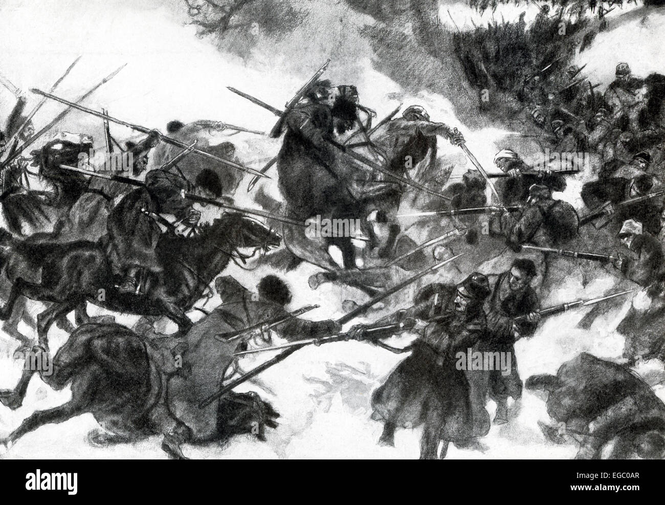 In this 1917 illustration, Cossacks are shown clashing with Austrian cavalry during World War I. Toward the end - Stock Image
