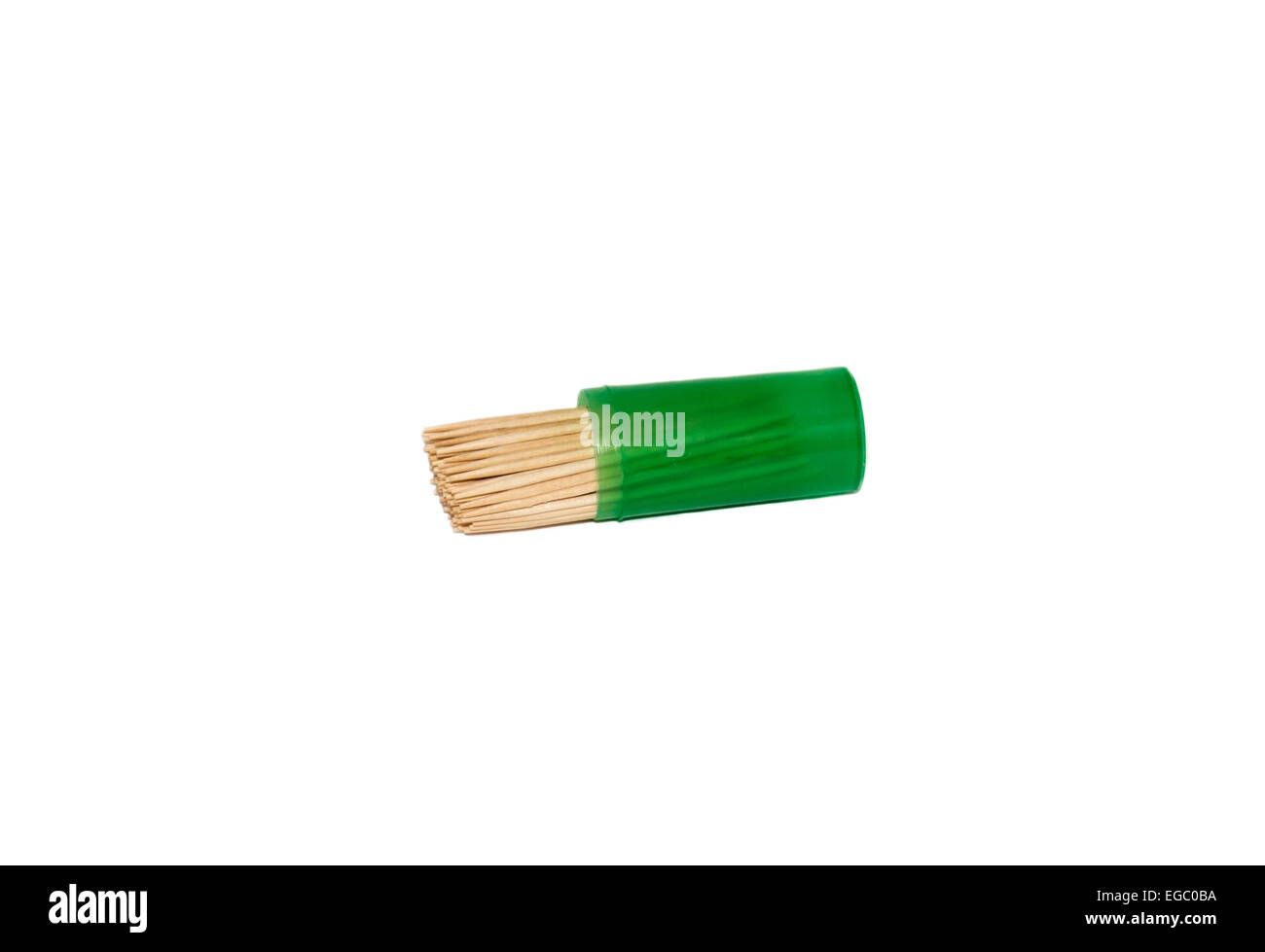 Toothpicks in a box on a white background isolated - Stock Image