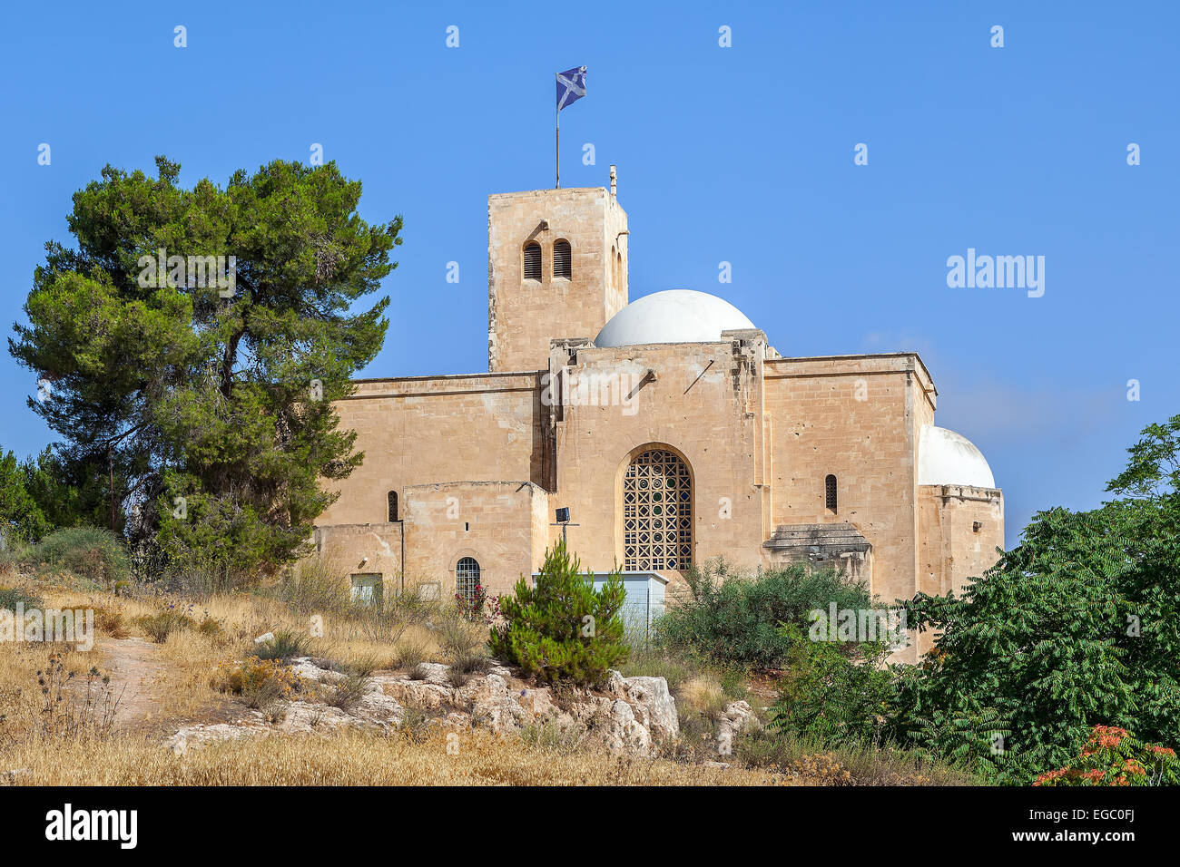 View of St Andrew's Church in Jerusalem, Israel. Stock Photo