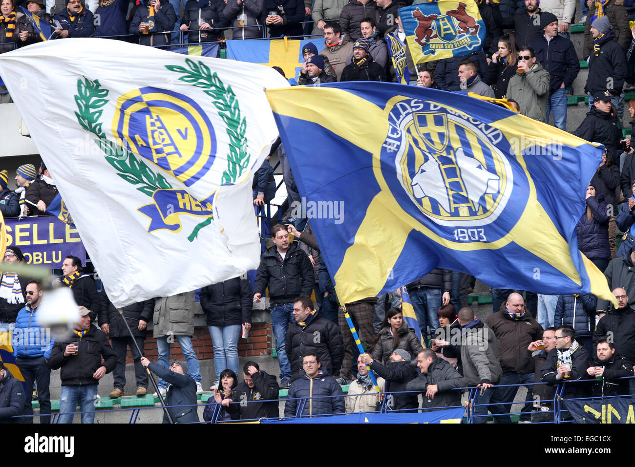 Verona, Italy. 22nd February, 2015. Hellas Verona's fans during the Italian Serie A football match between Verona - Stock Image