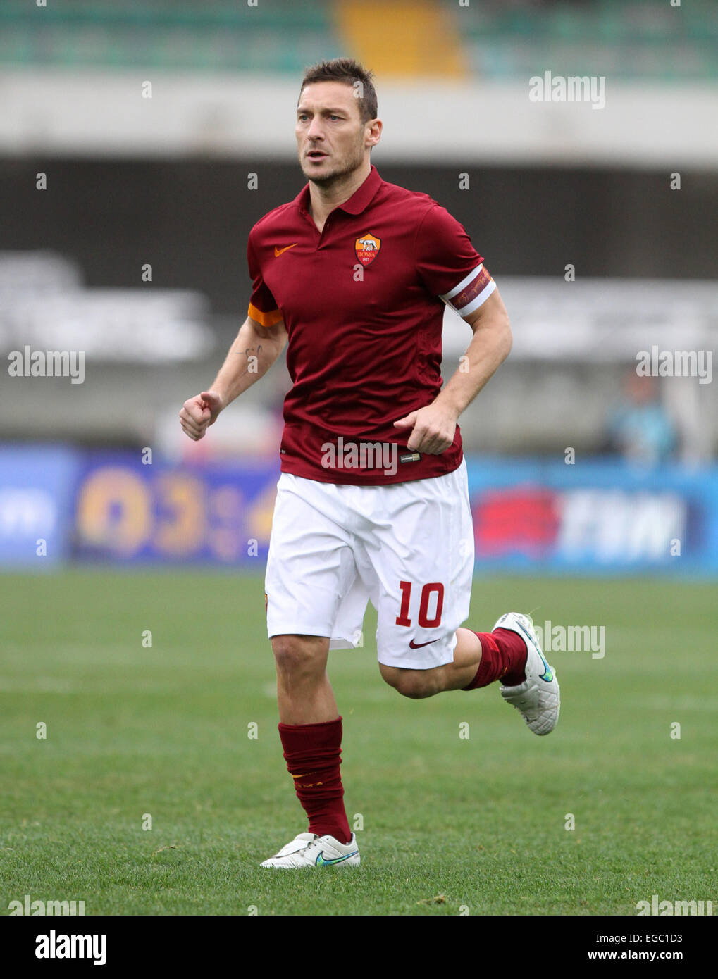 Verona, Italy. 22nd February, 2015. Roma's forward Francesco Totti during the Italian Serie A football match - Stock Image