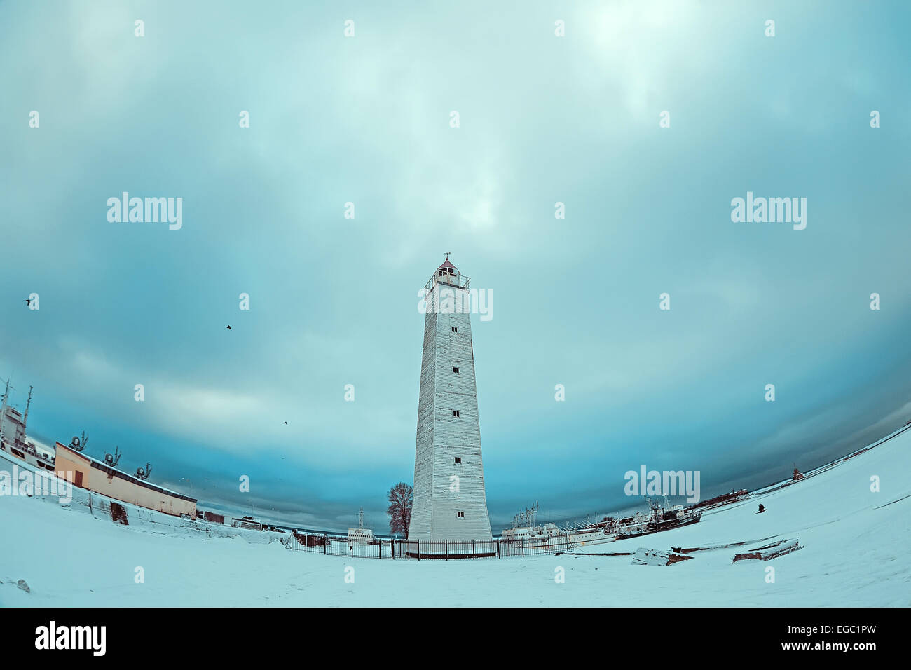View of the seamark in Kronstadt, Russia. Made by fisheye lens. Stock Photo