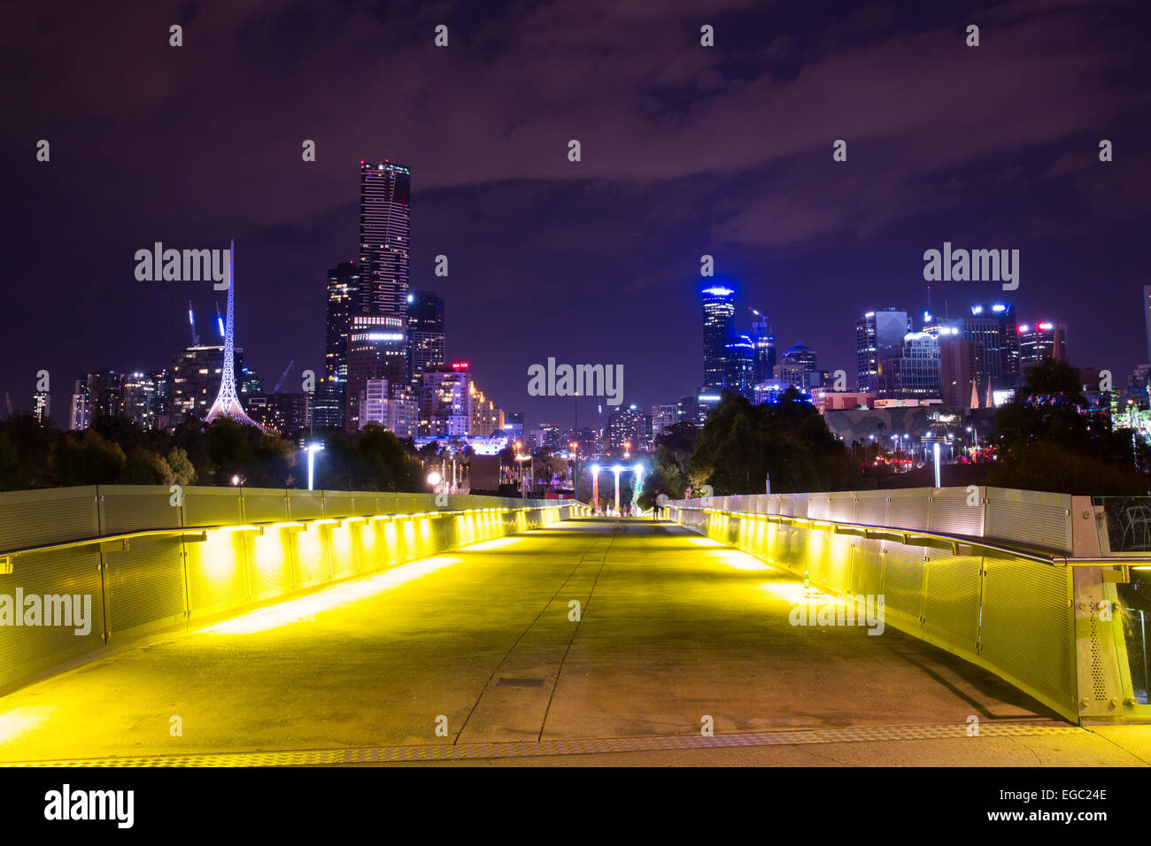 Melbourne, Australia - February 21 - The Melbourne skyline from Birrarung Marr during White Night on February 21st - Stock Image