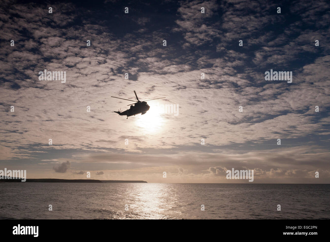 Helicopter At Porthleven, Cornwall, South West,Uk - Stock Image