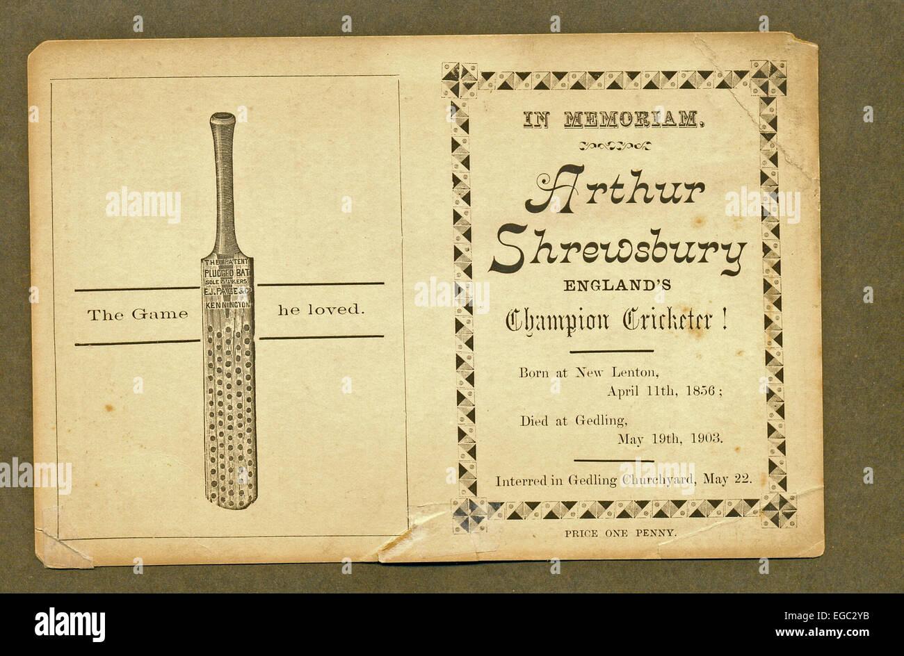"Memorial card for Arthur Shrewsbury, ""England's Champion Cricketer"" Stock Photo"
