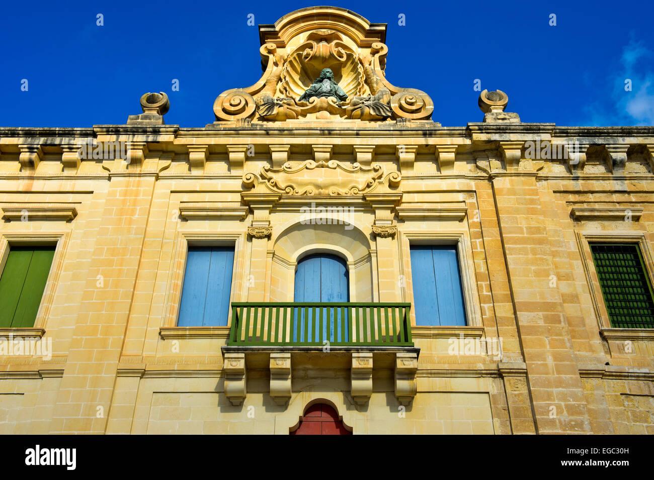 Restored historical warehouses of the Valletta Waterfront, Valletta, Malta - Stock Image