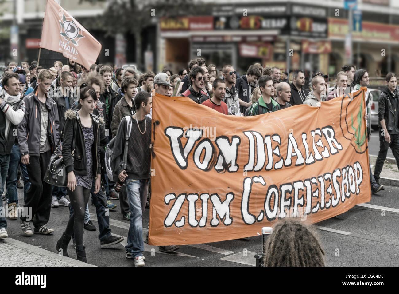 Demo in Kreuzberg for Legalizing Cannabis in Germany, Berlin - Stock Image