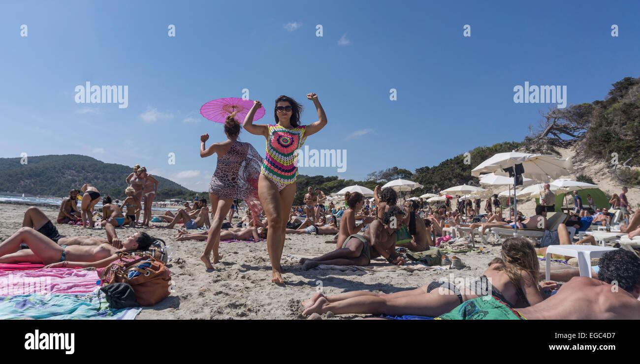 Fashion Show at Sa Trinxa, Playa ses Salines,  Ibiza,  Spain - Stock Image