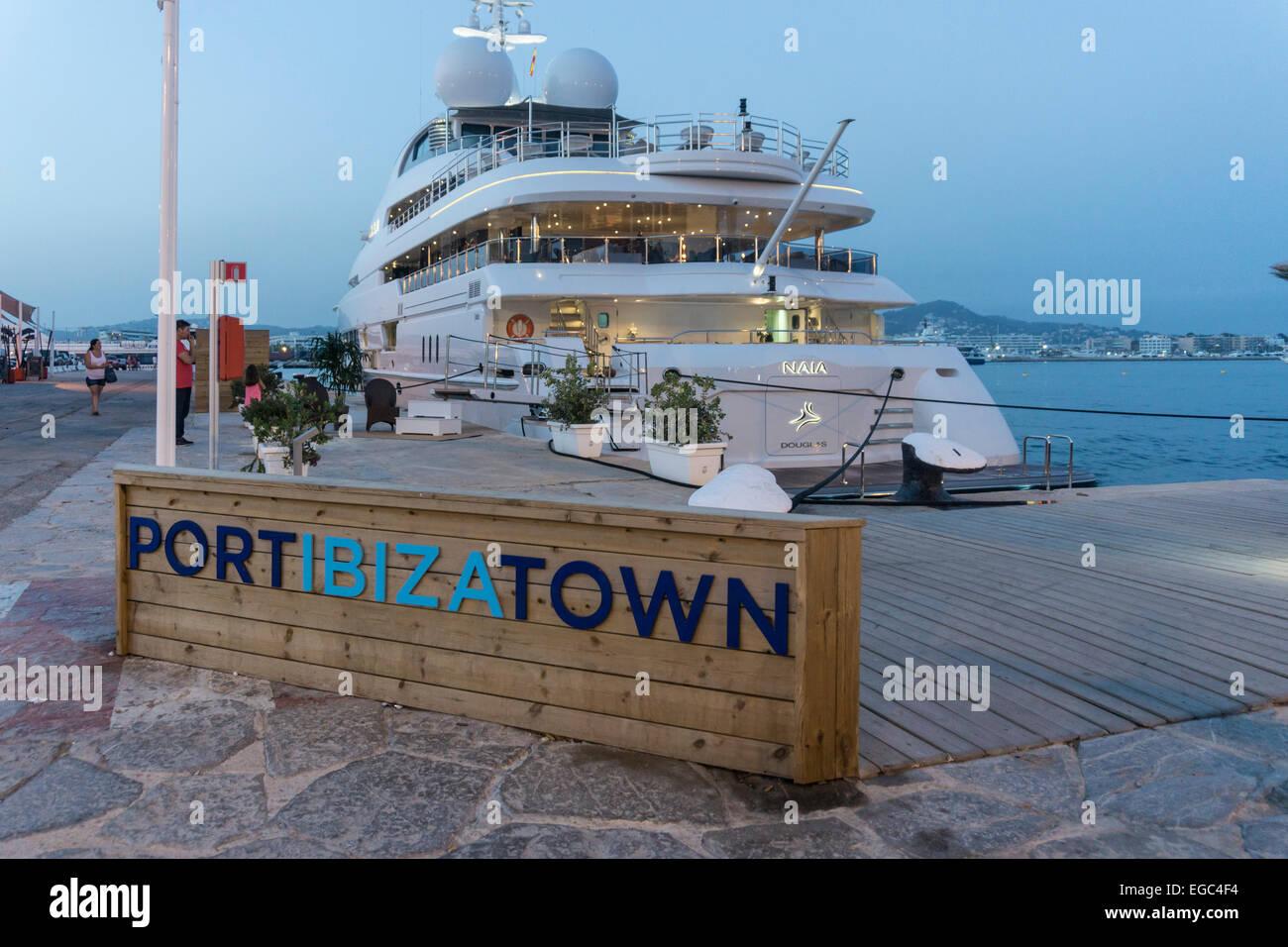Port Ibiza town, Luxery Charter Yacht, Ibiza, Spain - Stock Image