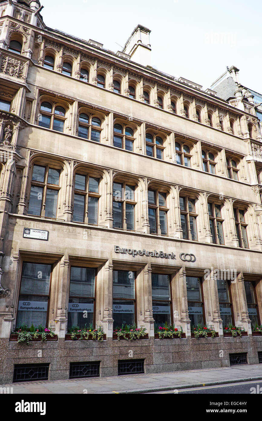 Europe Arab Bank Moorgate City Of London UK - Stock Image