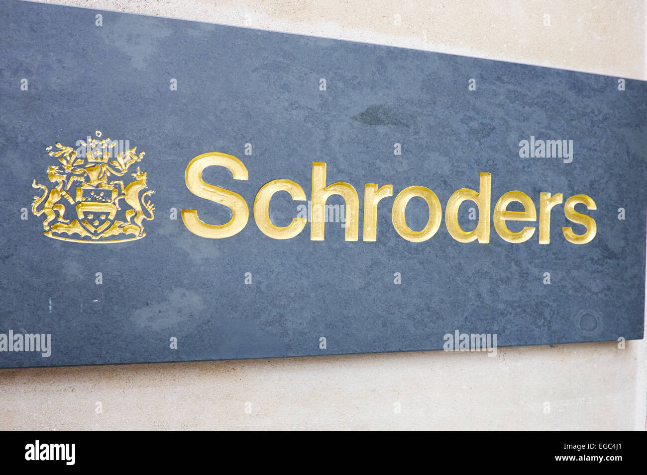 Schroders Plaque Moorgate City Of London UK - Stock Image