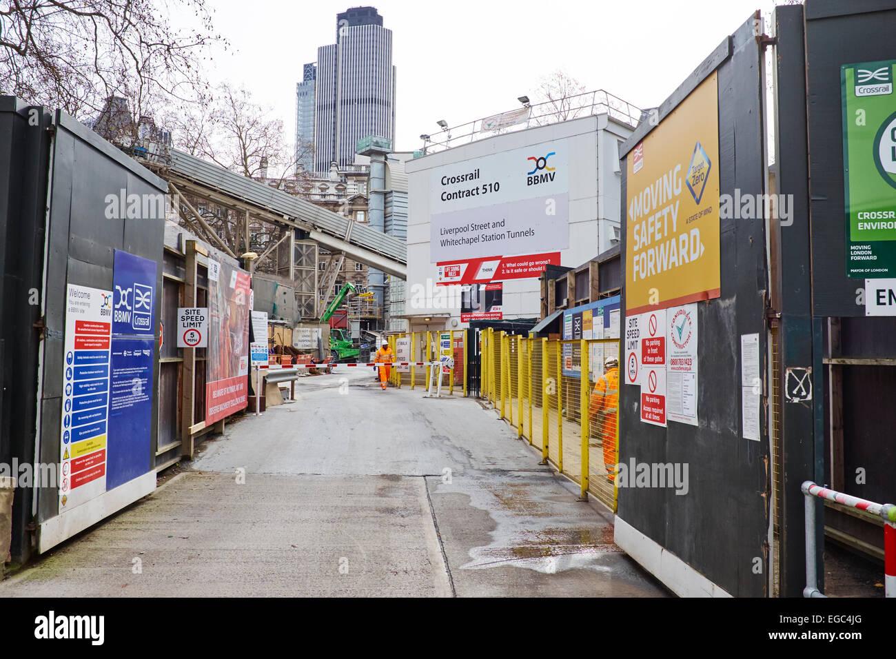 Construction Site Of Liverpool Street & Whitechapel Tunnels Crossrail Finsbury Circus London UK - Stock Image