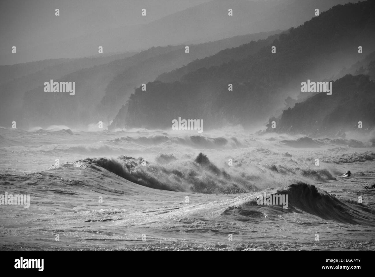 Baunei,Dorgali,Sardinia,Italy. 11/2008. View of Supramonte mountains,sea waves and the coast home of the Selvaggio - Stock Image