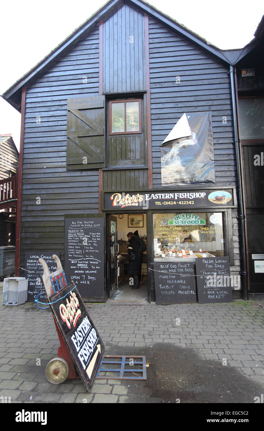 Peter's Eastern Fish shop, Rock-A-Nore, Stade, Hastings, East Sussex - Stock Image
