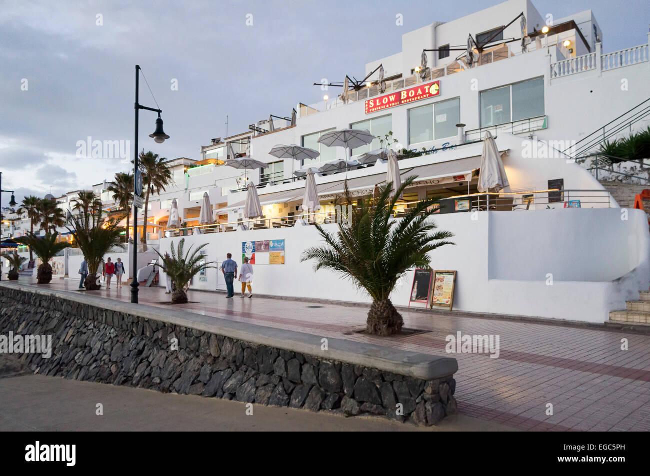 Promenade from  Los Christianos to Playa de las Americas, Tenerife, Spain.Canary Islands, Spain, Europe, - Stock Image