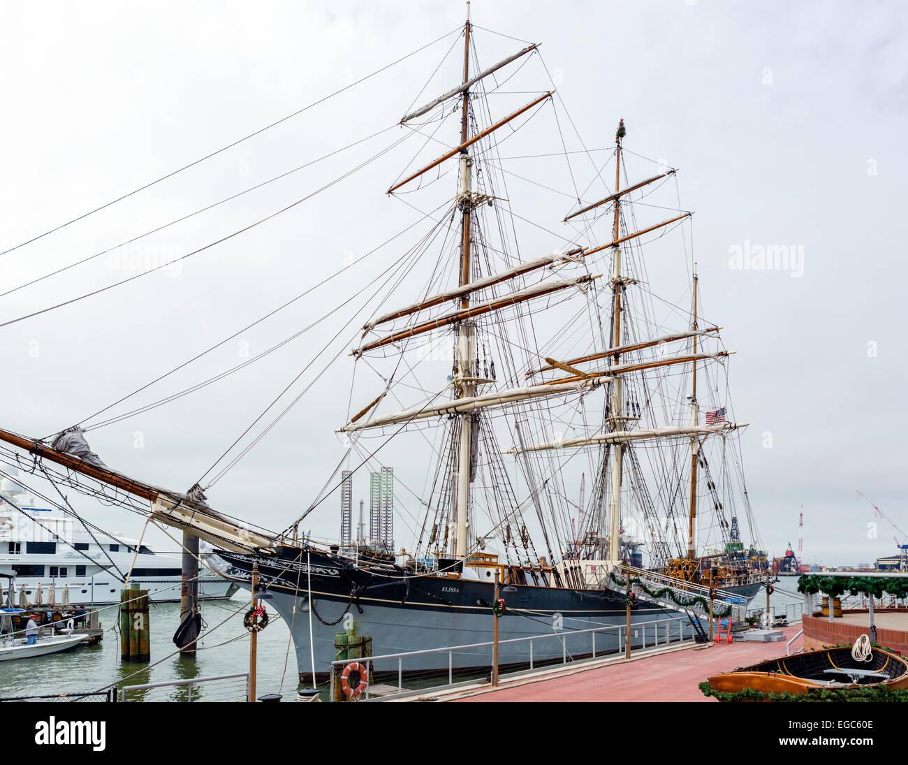 The historic tall ship Elissa at the Texas Seaport Museum, Strand Landmark Historic District, Galveston, Texas, Stock Photo