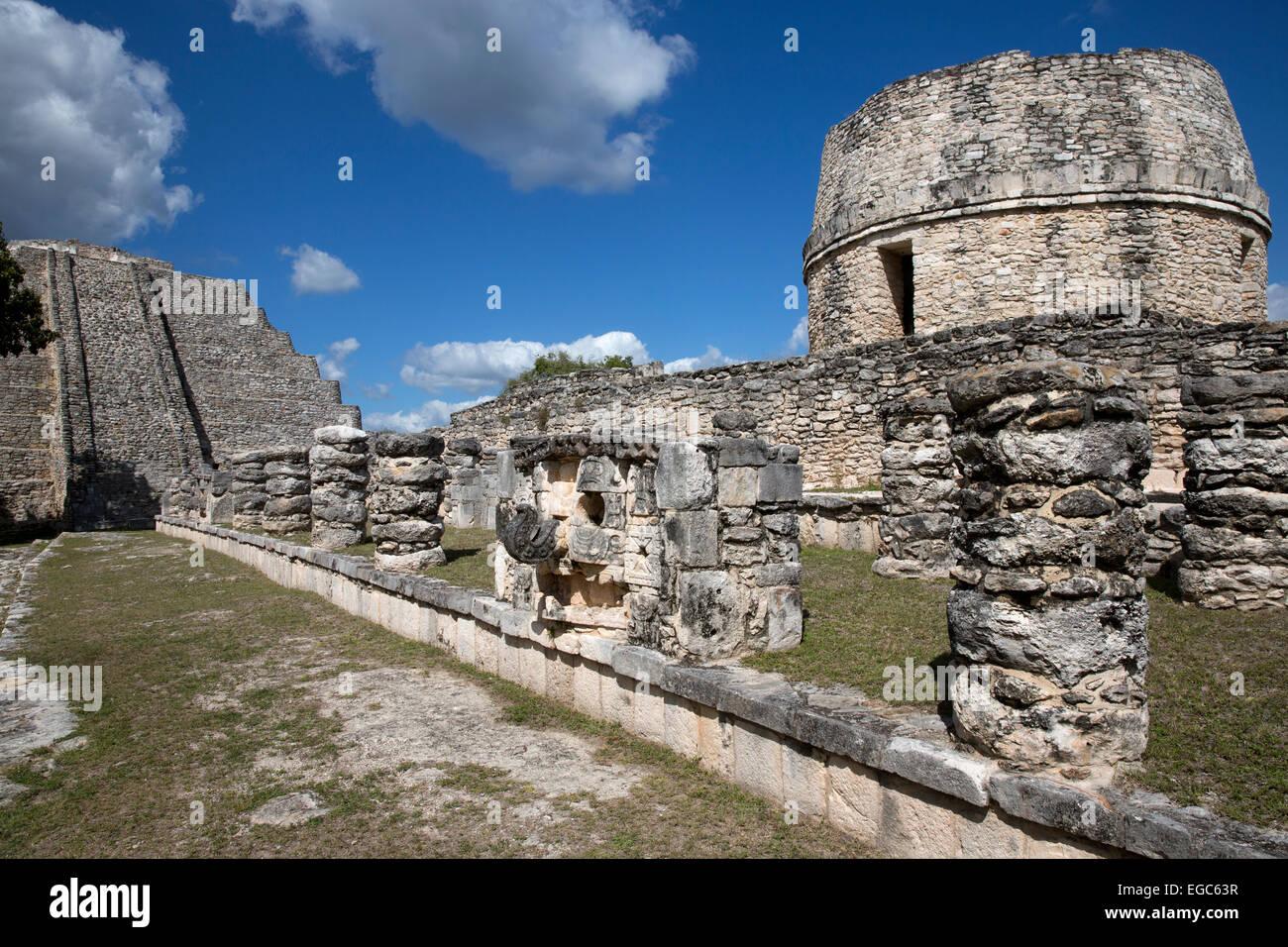 Mayan ruins at Mayapan, Yucatan, Mexico - Stock Image